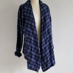 Blue plaid Columbia flannel cardigan